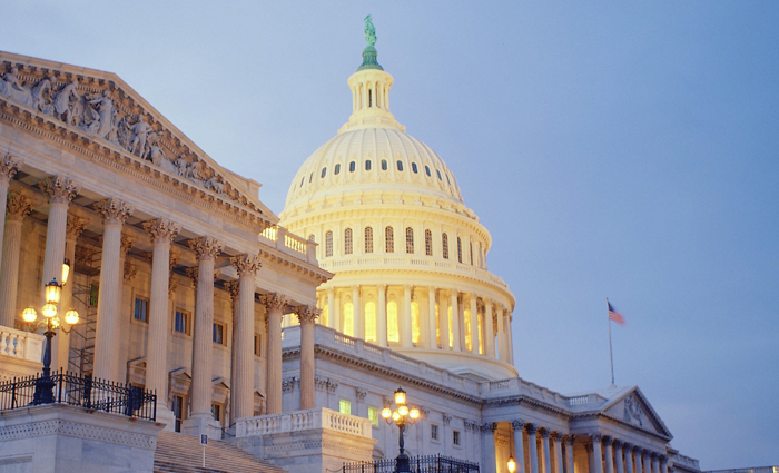 1793-1863, Washington, DC, USA --- Porticoes of the U.S. Capitol at Dusk --- Image by © Royalty-Free/Corbis